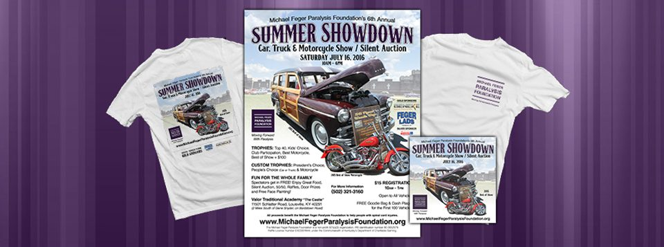 """Graphics for the 6th Annual Summer Showdown Car Show & Silent Auction. The Michael Feger Paralysis Foundation is hosting the 6th Annual Summer Showdown Car Show & Silent Auction on July 16, 2016 from 10am to 5pm. At Valor Traditional Academy """"The Castle"""" in Louisville, KY. (off Bardstown Road, 2 Read More >"""