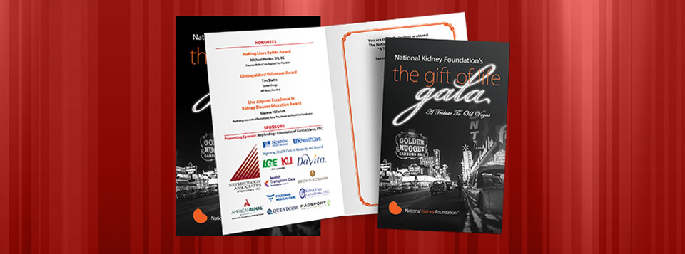 "2013 Gift of Life Gala Invitations, the theme this year was a ""Tribute To Old Las Vegas""."